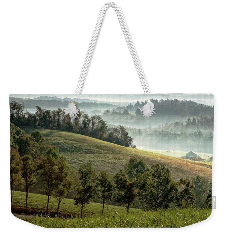 Elliott County Weekender Tote Bag featuring the photograph Stark Ridge Morning by Randall Evans