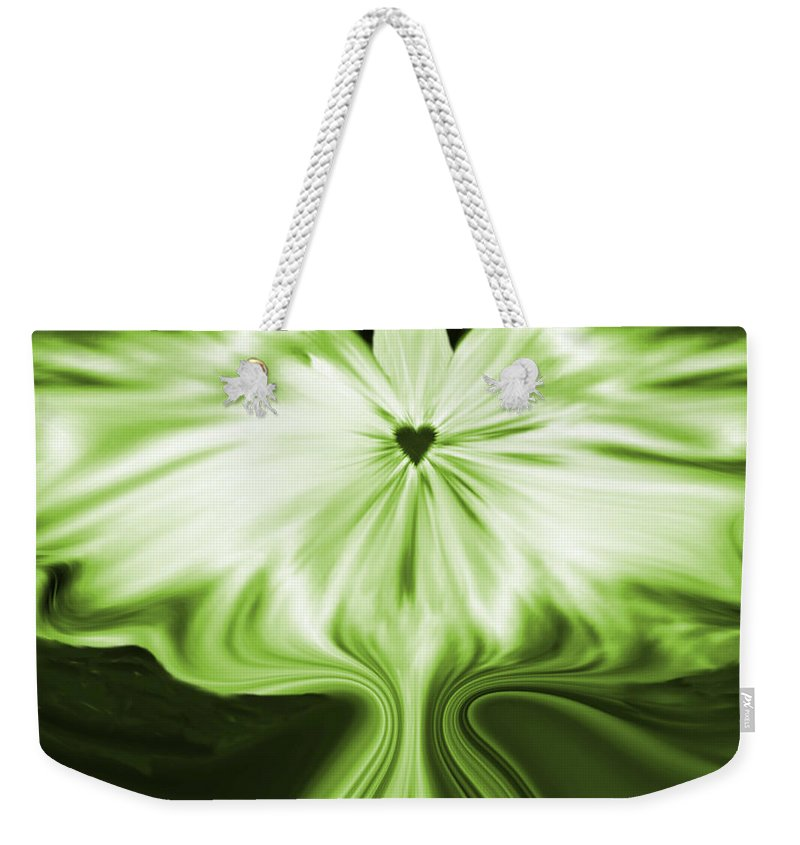Starlight Angel Weekender Tote Bag featuring the digital art Starlight Angel - Green by Artistic Mystic
