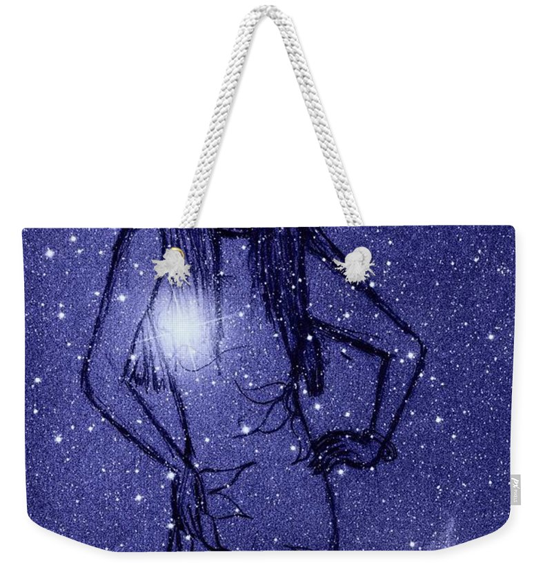 Space And Time Weekender Tote Bag featuring the mixed media Starlight Of Space And Time 2 by Joan-Violet Stretch