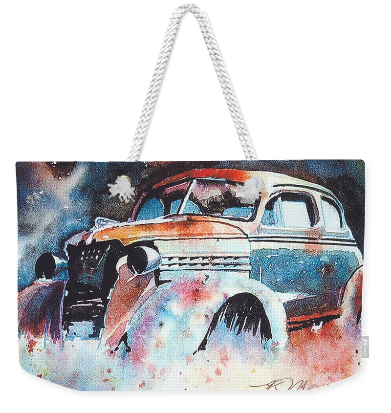 Chev Weekender Tote Bag featuring the painting StarlightChevy by Ron Morrison