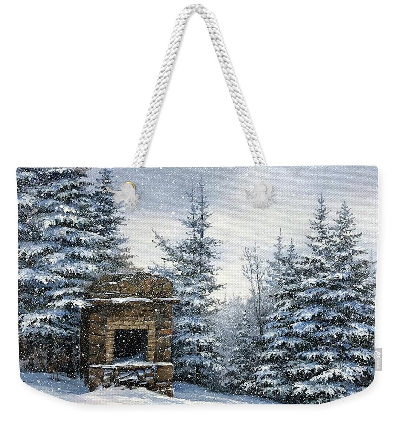 Starr King Stone Fireplace Weekender Tote Bag featuring the painting Starr King Stone Fireplace by Varvara Harmon