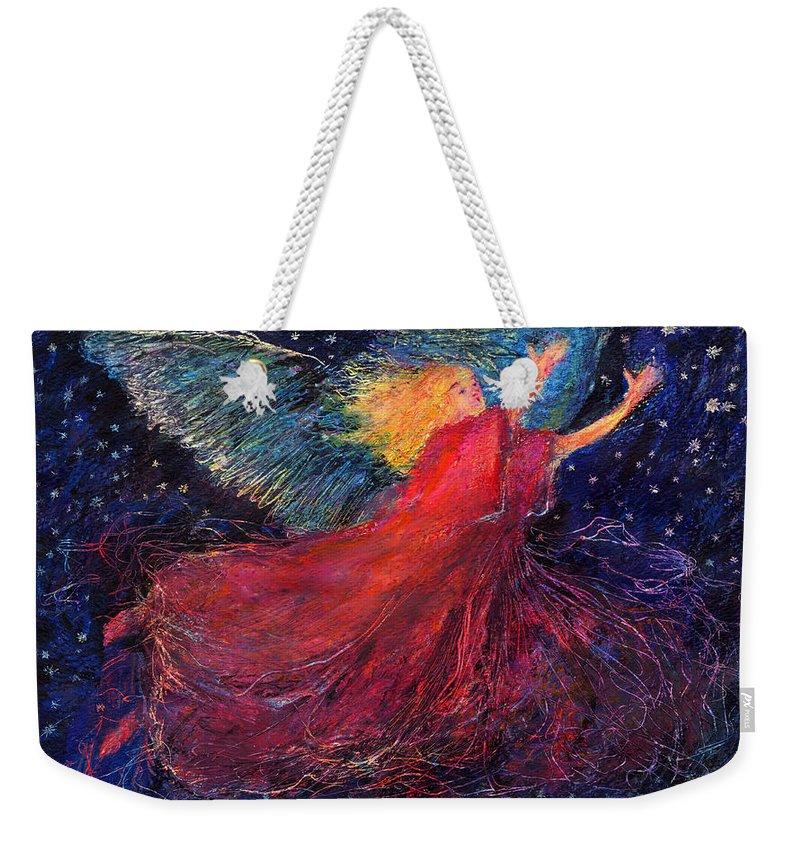 Angel Weekender Tote Bag featuring the painting Starry Angel by Diana Ludwig