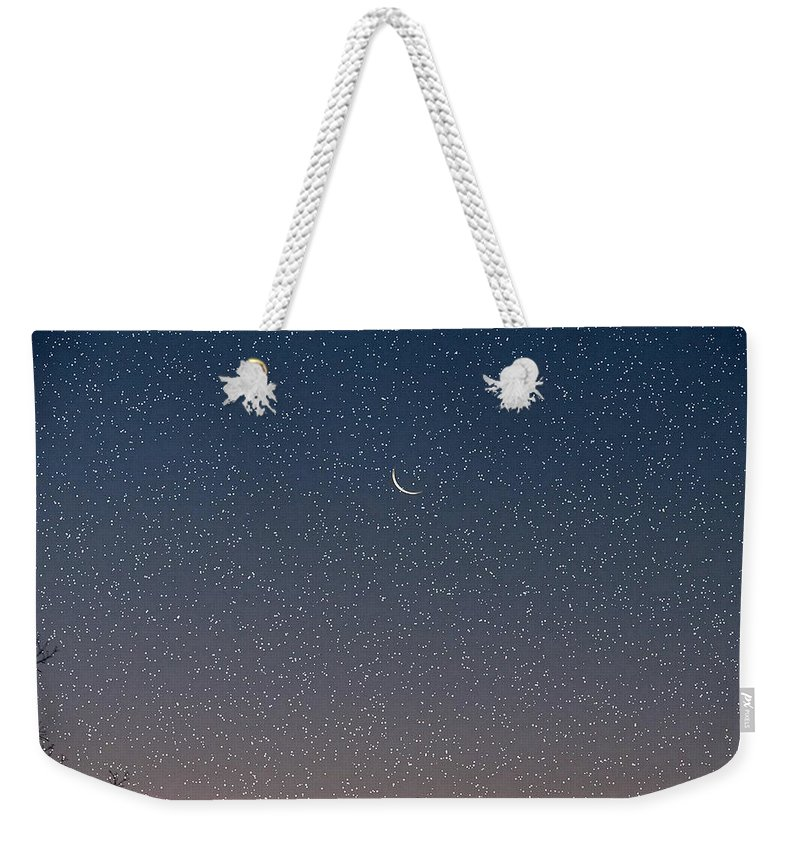 Weekender Tote Bag featuring the photograph Starry Morning Sky by Luciana Seymour