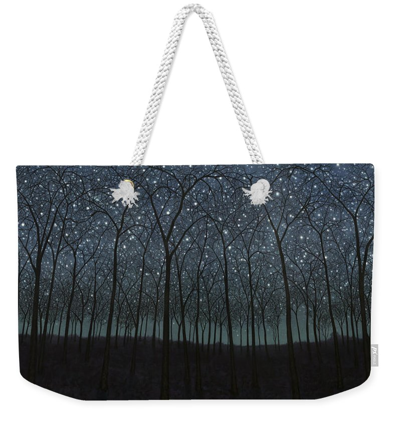Stars Weekender Tote Bag featuring the painting Starry Trees by James W Johnson
