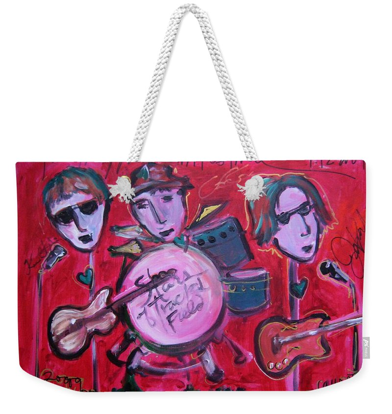 Red Weekender Tote Bag featuring the painting Stars Of Track And Field At Monolith by Laurie Maves ART