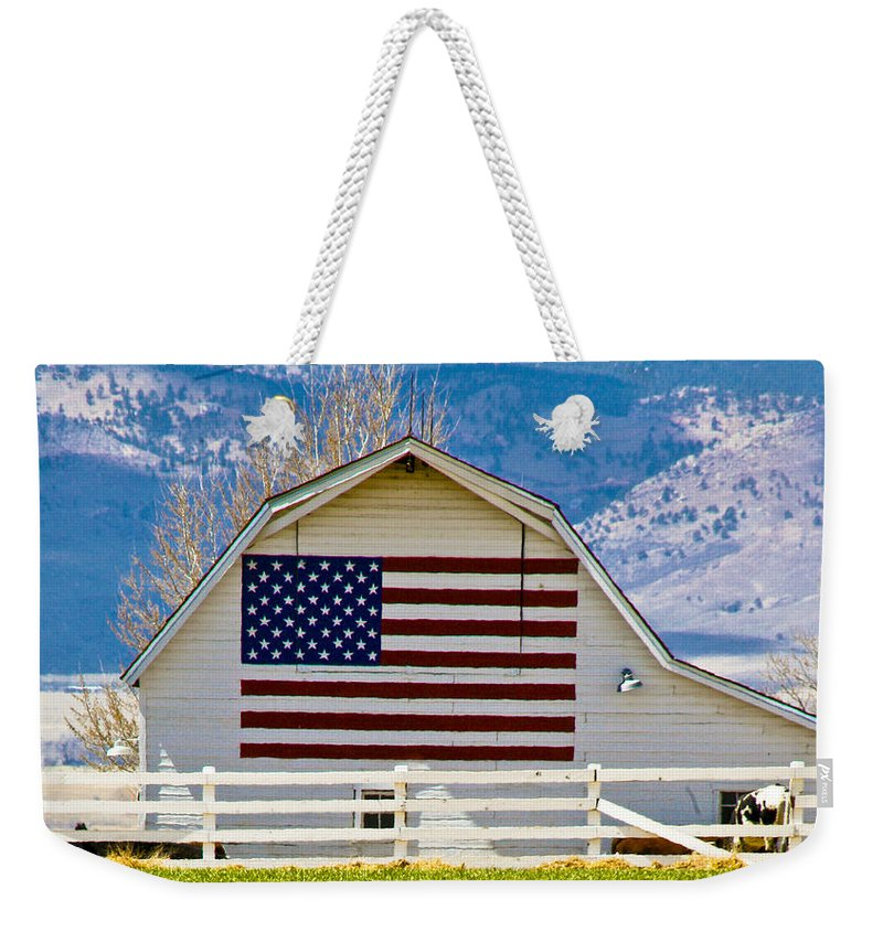 Barn Weekender Tote Bag featuring the photograph Stars Stripes And Barns by Marilyn Hunt