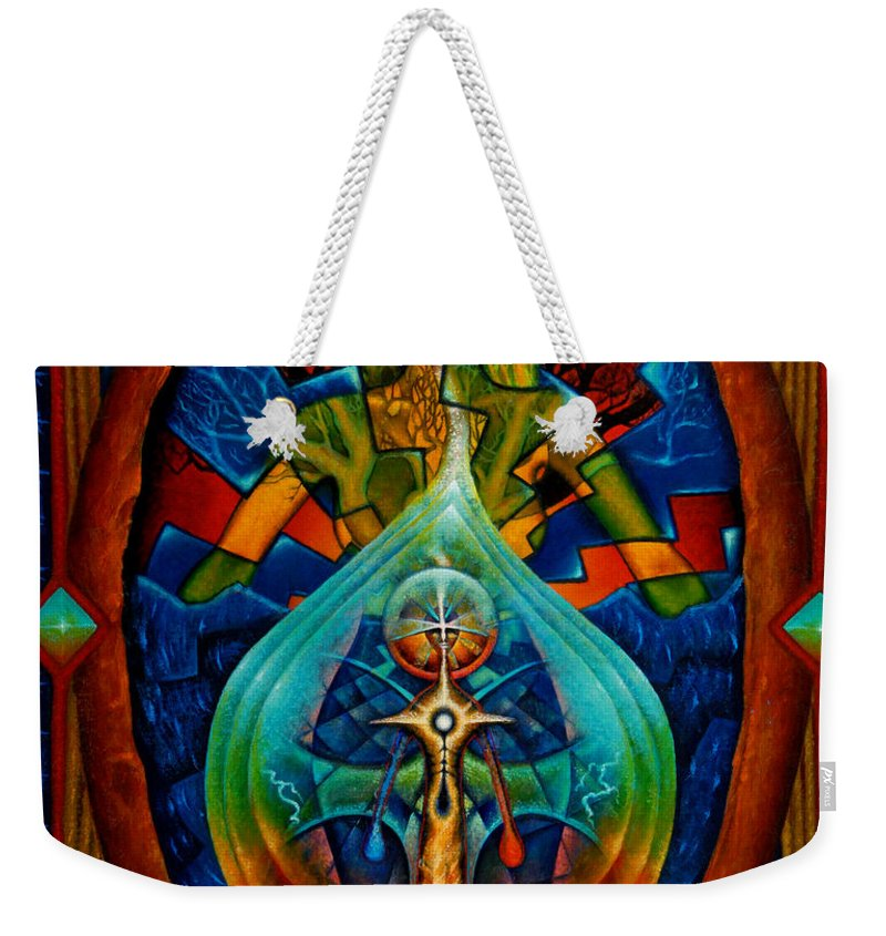 Native American Weekender Tote Bag featuring the painting Starseed by Kevin Chasing Wolf Hutchins