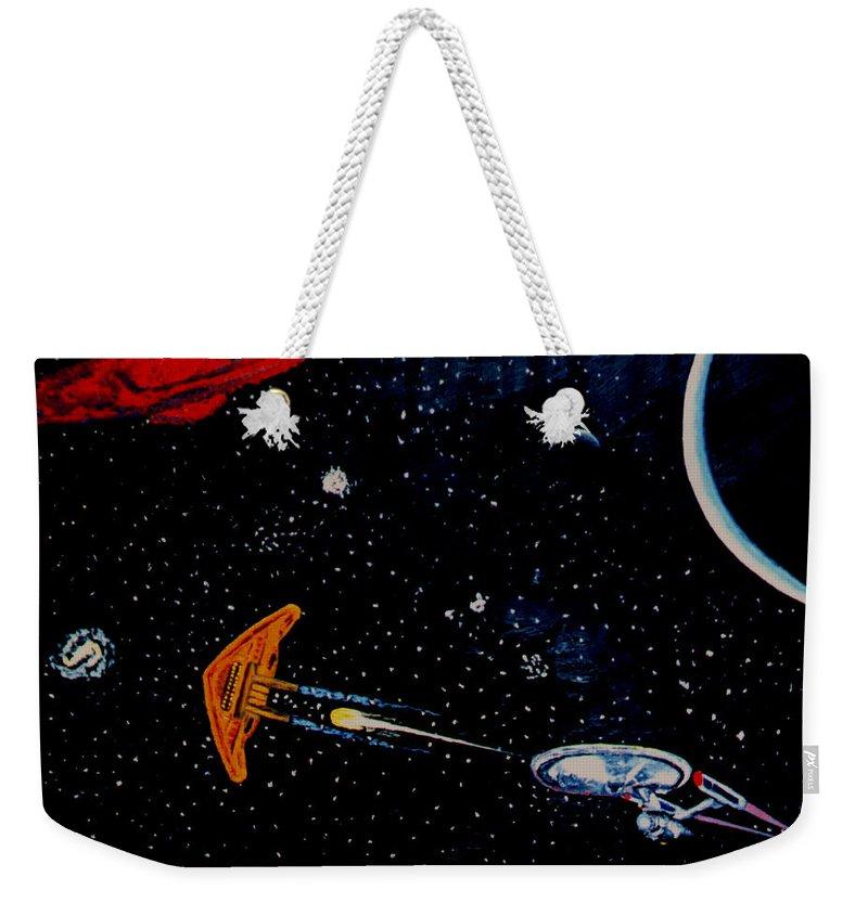 Startrel.scoemce Foxopm.s[ace.[;amets.stars Weekender Tote Bag featuring the painting Startrek by Stan Hamilton