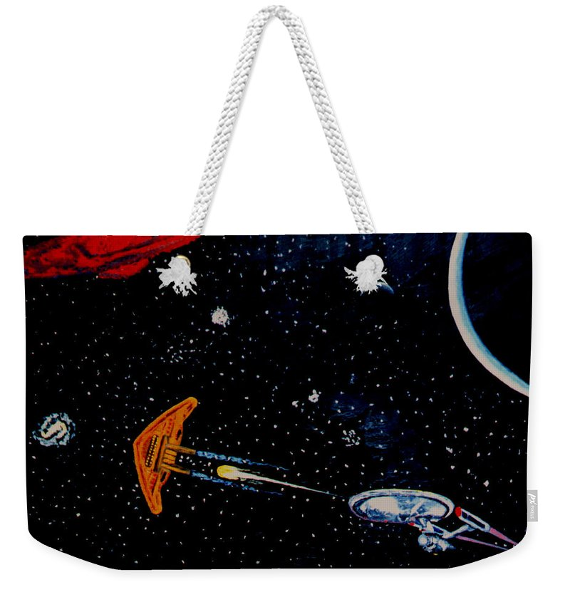 Startrel.scoemce Foxopm.s[ace.[;amets.stars Weekender Tote Bag featuring the painting Startrek by Stan Hamilton