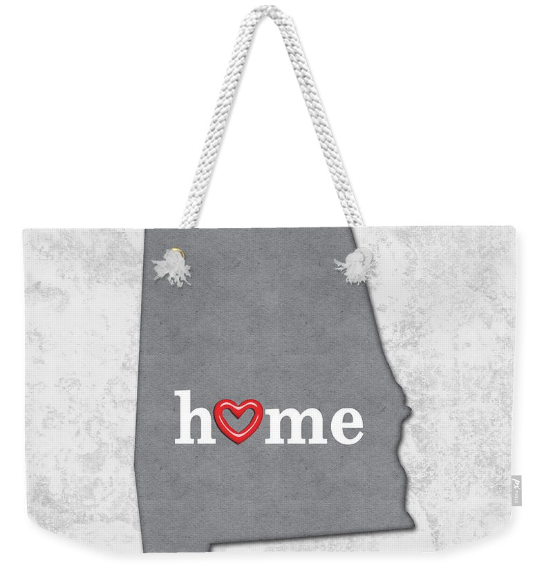 Alabama Weekender Tote Bag featuring the painting State Map Outline Alabama With Heart In Home by Elaine Plesser