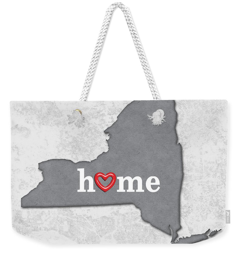 524251b74f New York Weekender Tote Bag featuring the painting State Map Outline New  York With Heart In