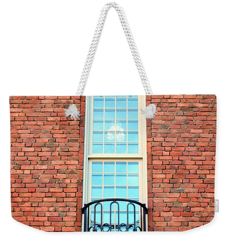 Stadsthuset Stockholm Weekender Tote Bag featuring the photograph Stadshuset Window by Elaine Berger