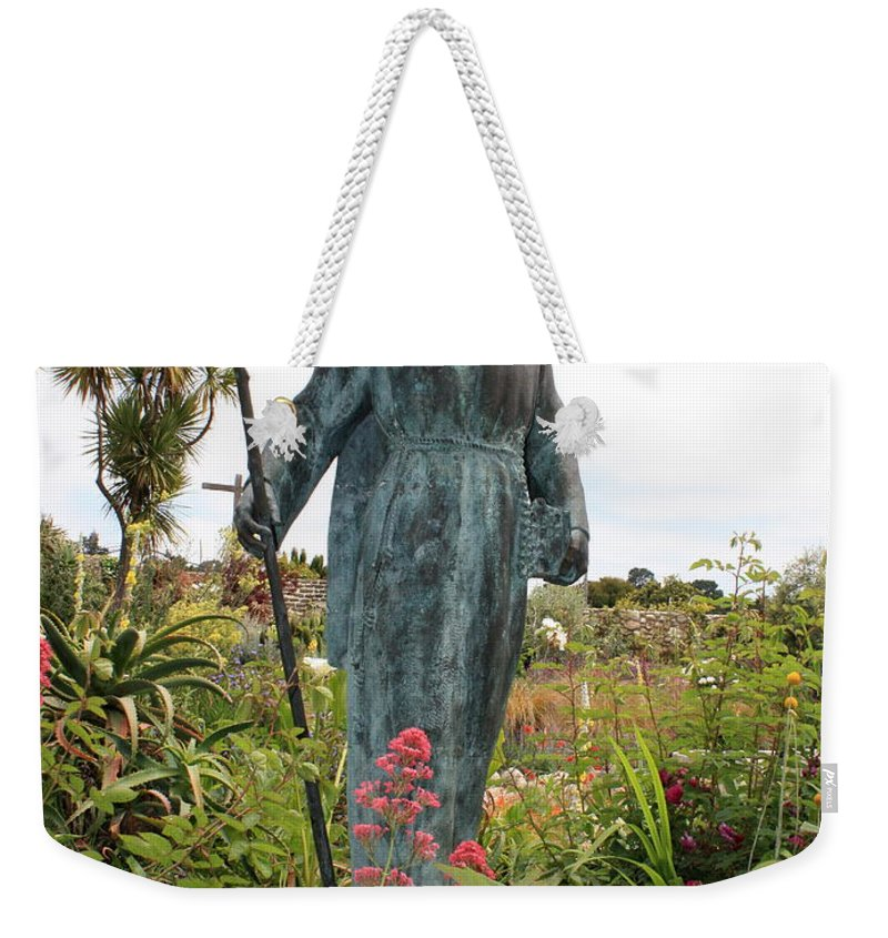 Father Serra Weekender Tote Bag featuring the photograph Statue Of Father Serra At Carmel Mission by Carol Groenen