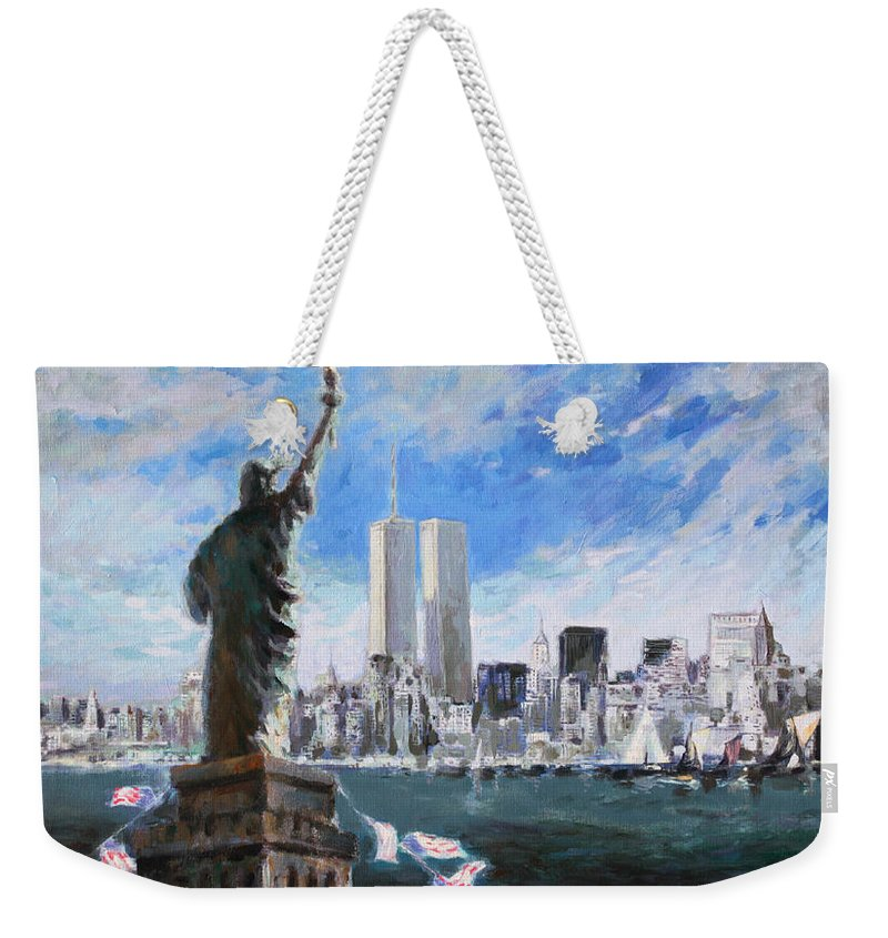 Landscape Weekender Tote Bag featuring the painting Statue Of Liberty And Tween Towers by Ylli Haruni