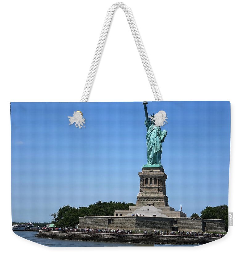 Statue Of Liberty Weekender Tote Bag featuring the photograph Statue Of Liberty New York America July 2015 Photo By Navinjoshi At Fineartamerica.com Island Landm by Navin Joshi