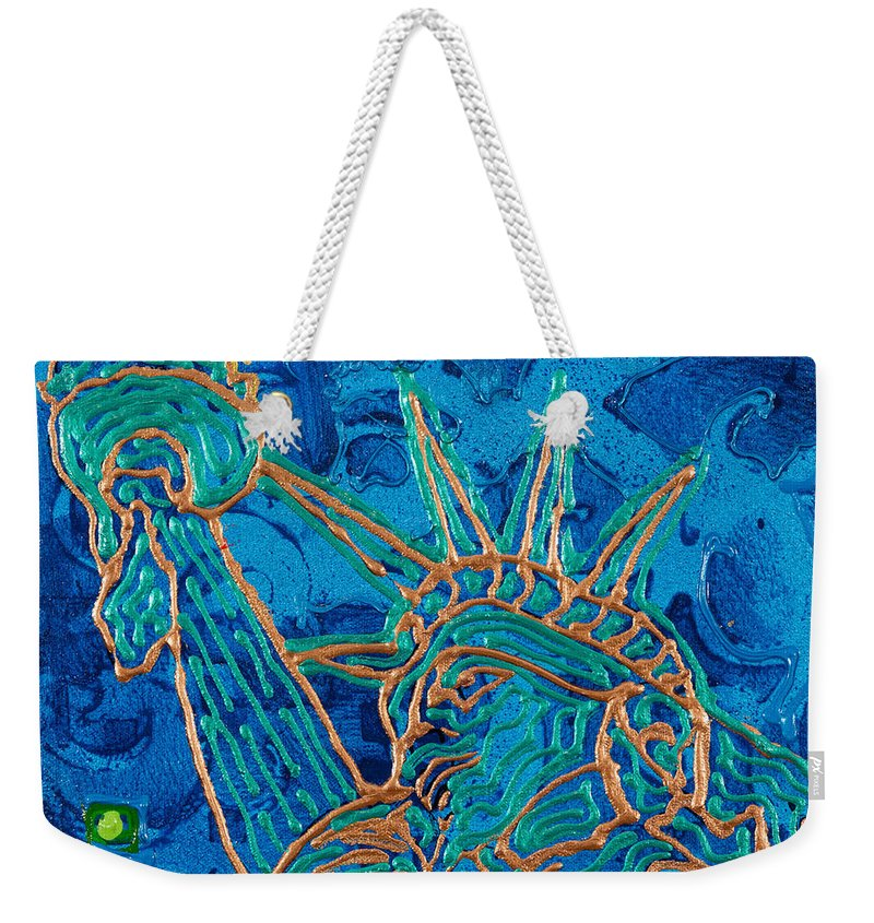 Statue Weekender Tote Bag featuring the painting Statue Of Liberty by Sheila McPhee