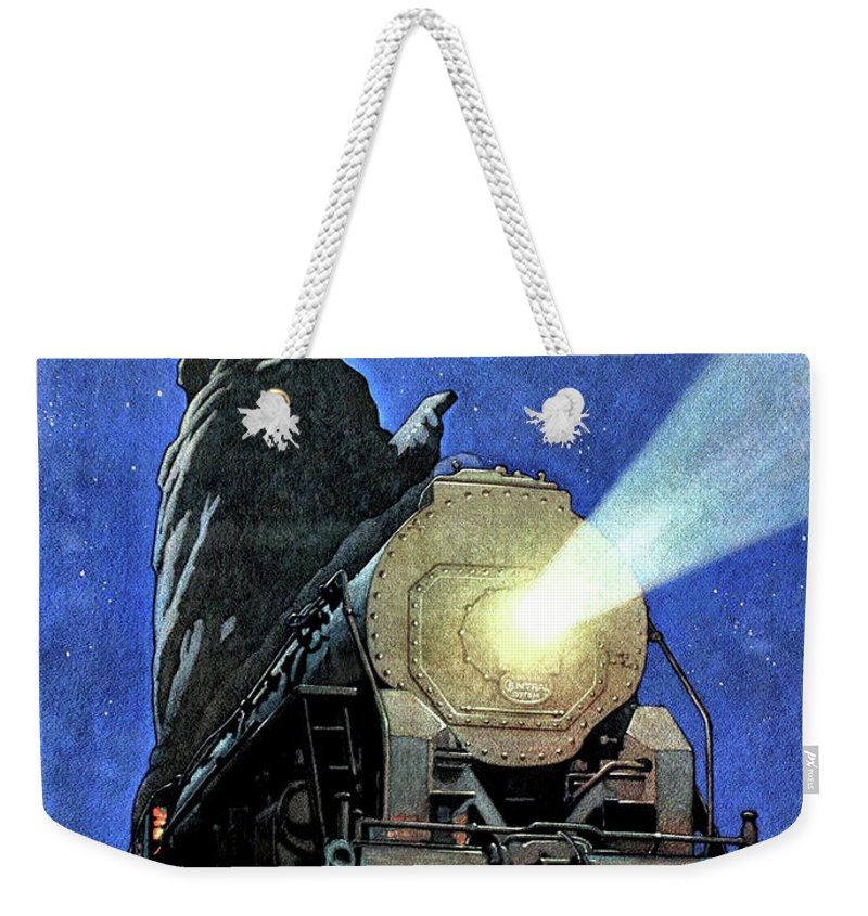 Statue Of Liberty Weekender Tote Bag featuring the painting Statue Of Liberty With Steam Train, We Shall Not Fail by Long Shot