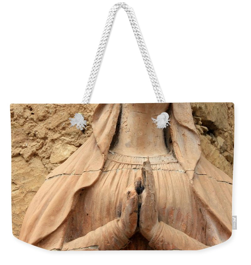 Mary Weekender Tote Bag featuring the photograph Statue Of Mary Closeup by Carol Groenen