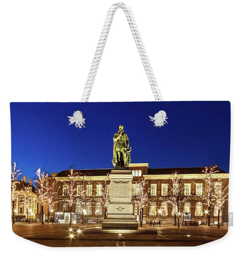 The Hague Weekender Tote Bag featuring the photograph Statue Of William Of Orange On The Plein - The Hague by Barry O Carroll