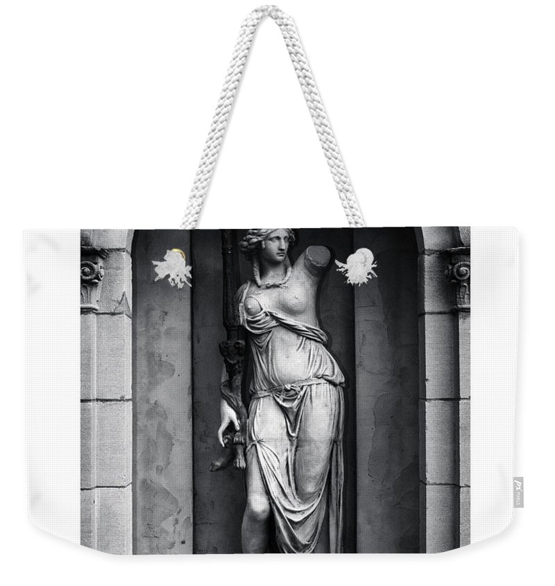 Black And White Weekender Tote Bag featuring the photograph Statue Under Cover by Scott Wyatt