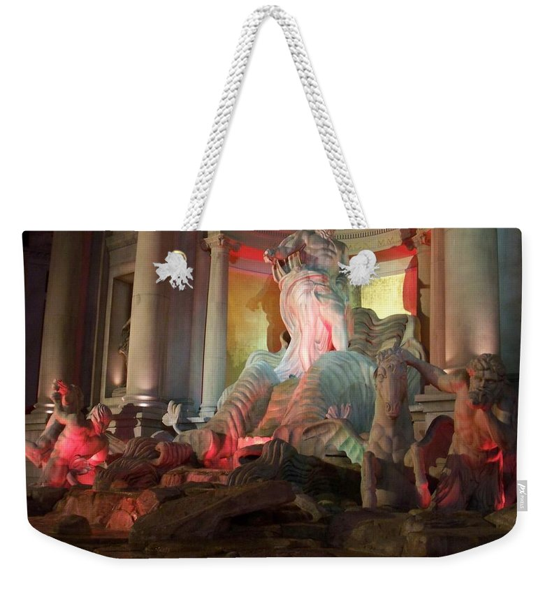 Ceasars Palace Weekender Tote Bag featuring the photograph Statues At Ceasars Palace by Anita Burgermeister