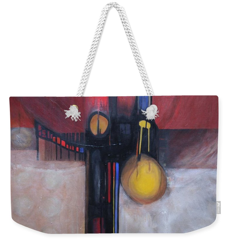 Abstract Weekender Tote Bag featuring the painting Stay True by Marlene Burns