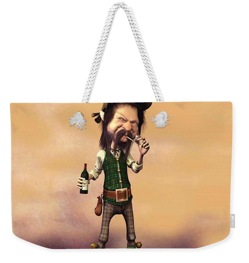 Leprechaun Painting By John Junek Weekender Tote Bag featuring the digital art Stchir by John Junek