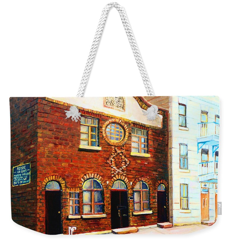 St. Dominique Street Synagogue Weekender Tote Bag featuring the painting St.dominique Street Synagogue by Carole Spandau