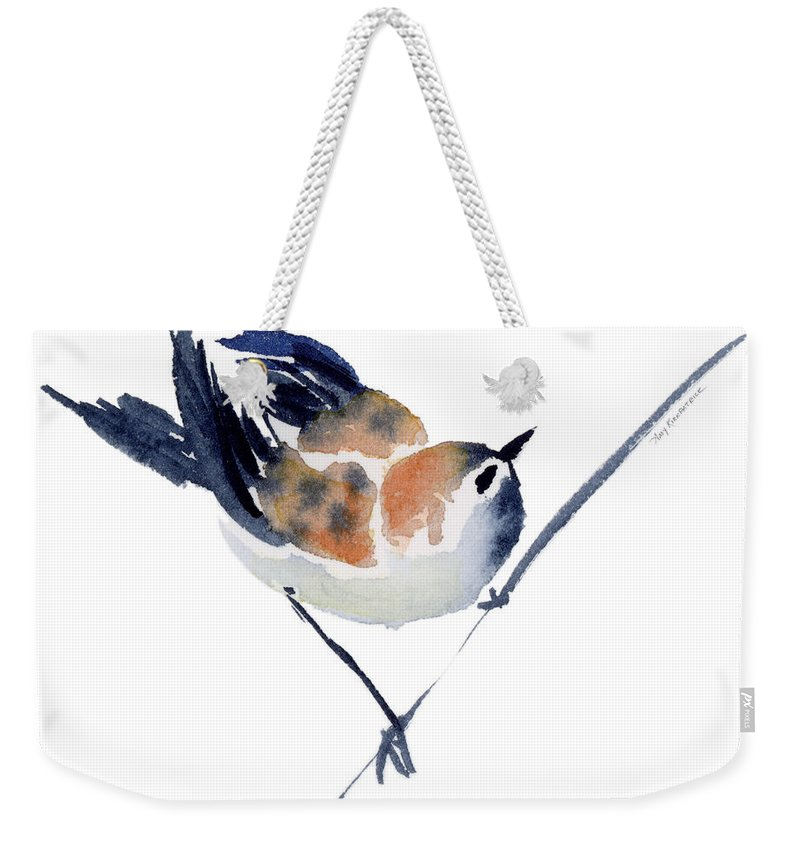 Sparrow Weekender Tote Bag featuring the painting Steadfast by Amy Kirkpatrick