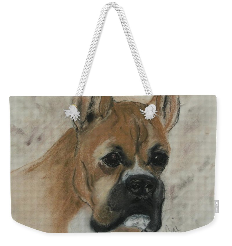 Dog Weekender Tote Bag featuring the drawing Steady Goes It by Cori Solomon