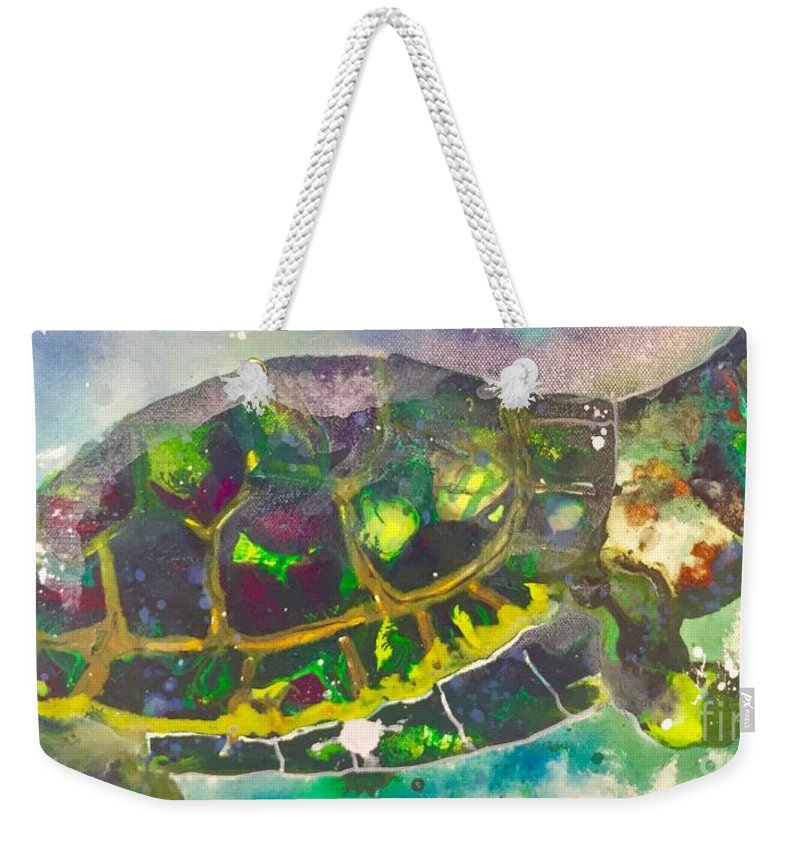 Turtle Weekender Tote Bag featuring the painting Steady by Kasha Ritter