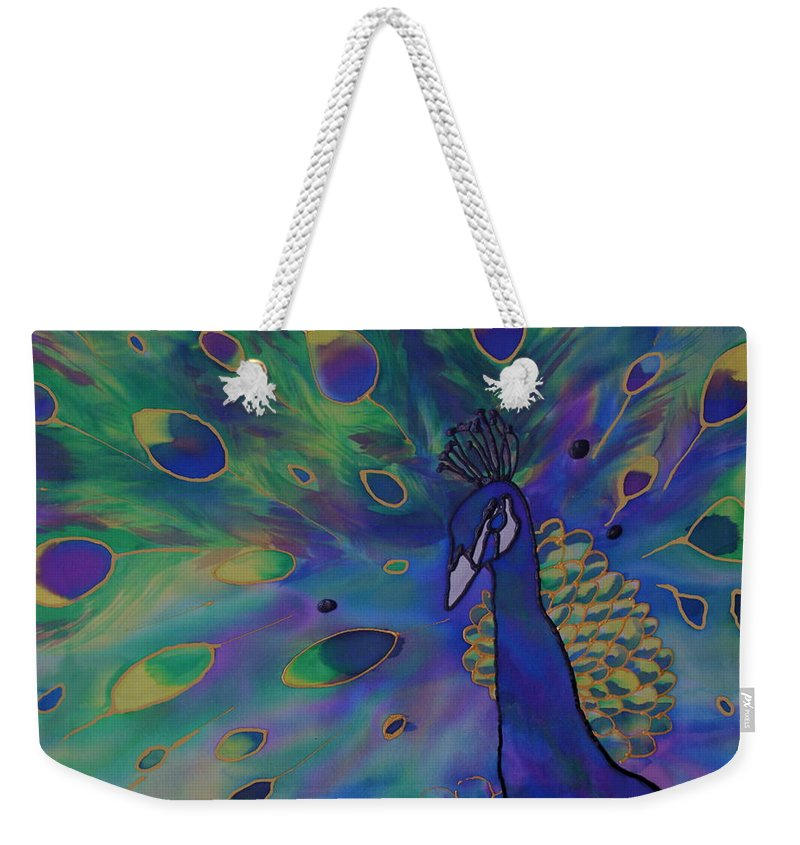 Peacock Weekender Tote Bag featuring the painting Stealing The Show by Joanne Smoley