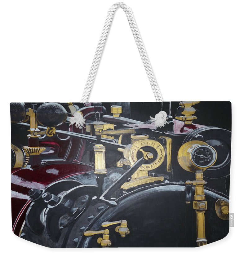 Tractor Weekender Tote Bag featuring the painting Steam Tractor by Richard Le Page