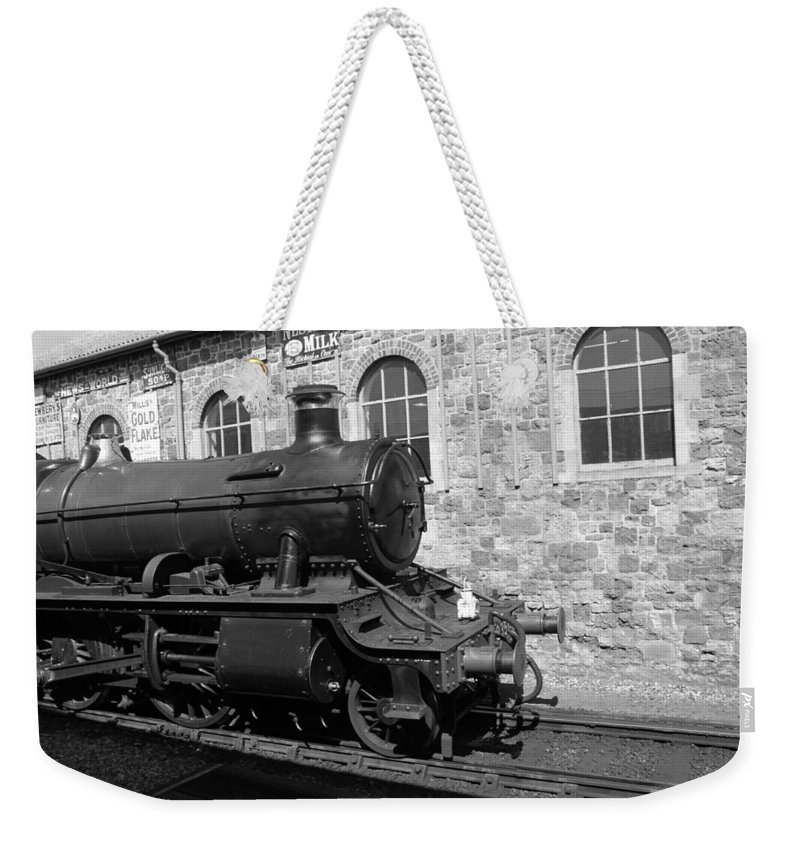 Steam Weekender Tote Bag featuring the photograph Steam Train In Station by Lauri Novak
