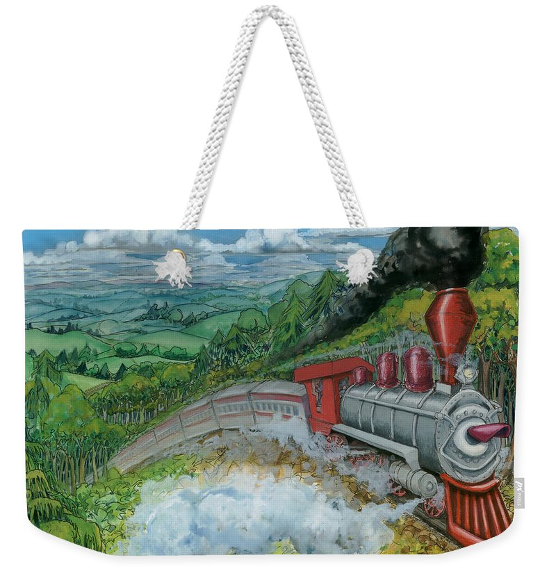 Train Weekender Tote Bag featuring the painting Steam Train by Kevin Middleton