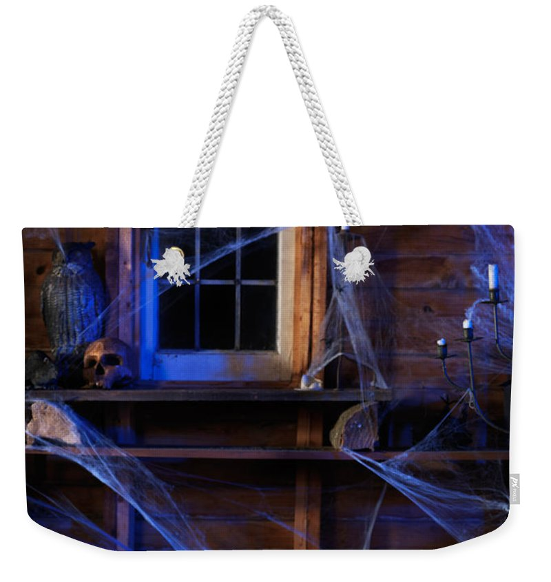Cauldron Weekender Tote Bag featuring the photograph Steaming Cauldron In A Witch Cabin by Oleksiy Maksymenko