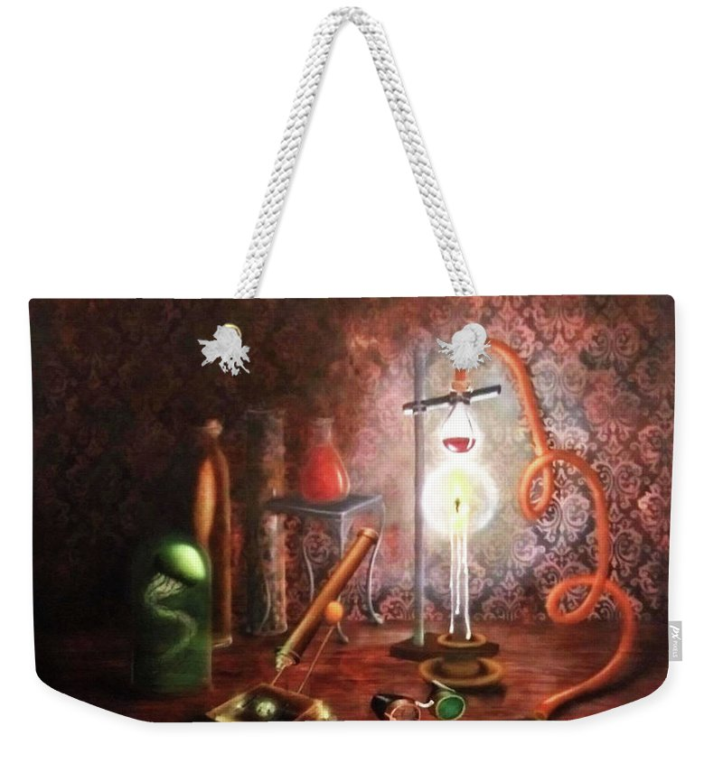 Steampunk Weekender Tote Bag featuring the painting Steampunk Laboratory by Siobhan Cardus
