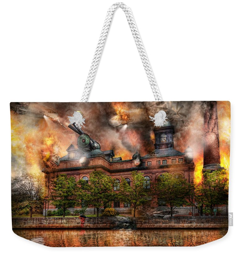 Apocalyptic Weekender Tote Bag featuring the photograph Steampunk - The War Has Begun by Mike Savad
