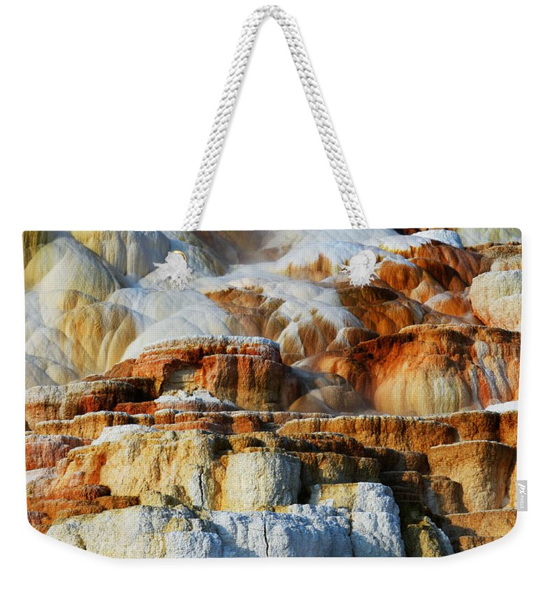 Yellowstone Weekender Tote Bag featuring the photograph Steamy Travertine Hot Spring Terraces Mammoth Hot Springs Yellowstone National Park by Shawn O'Brien