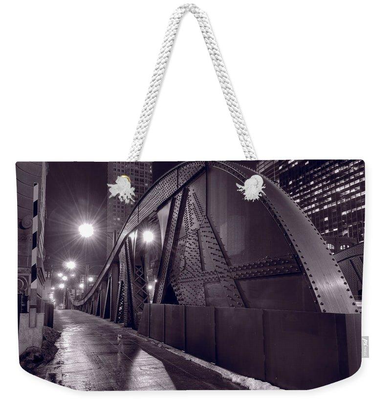 Bridge Weekender Tote Bag featuring the photograph Steel Bridge Chicago Black And White by Steve Gadomski