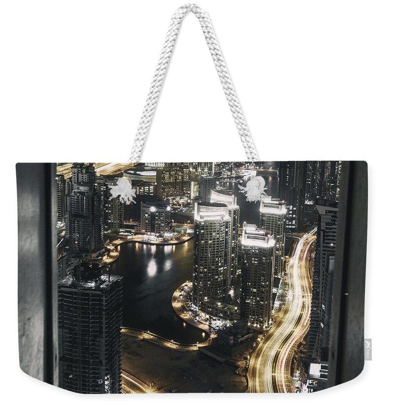 Dubai Weekender Tote Bag featuring the photograph Steel Curtains by Digital Kulprits