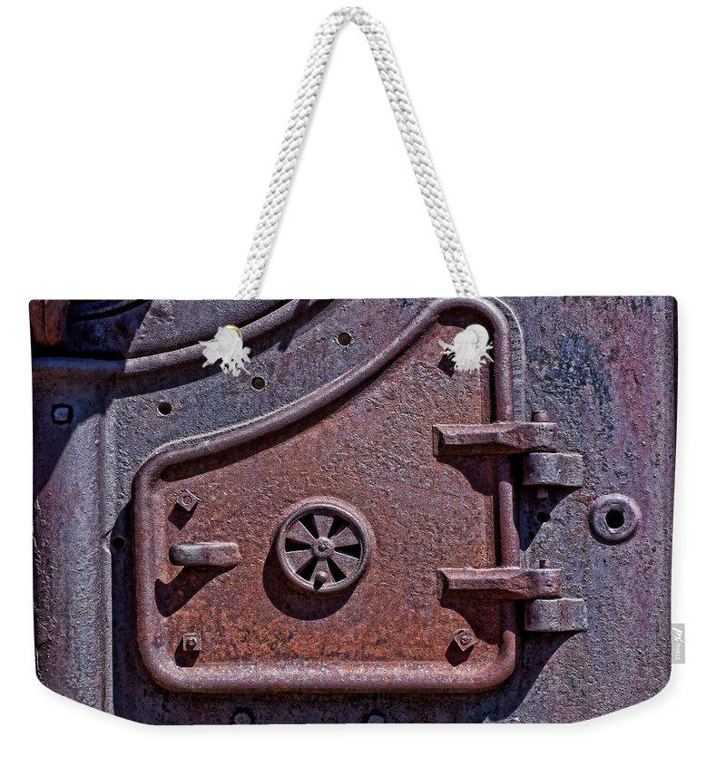 Texture Weekender Tote Bag featuring the photograph Steel Door by Kelley King