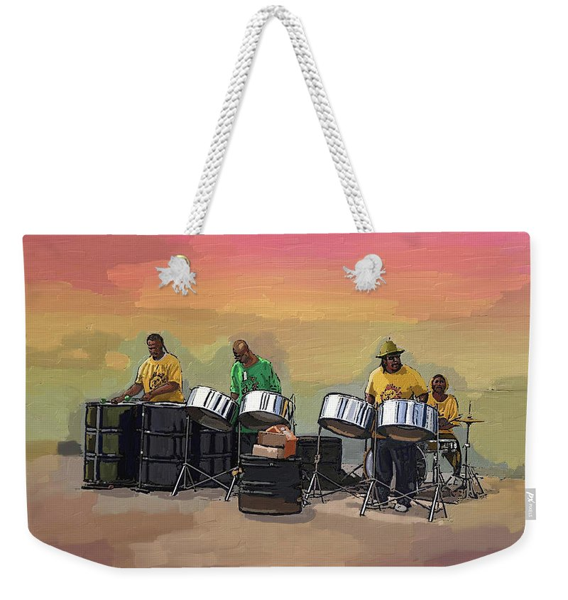 Landscape Weekender Tote Bag featuring the painting Steel Pan Players Antigua by James Mingo