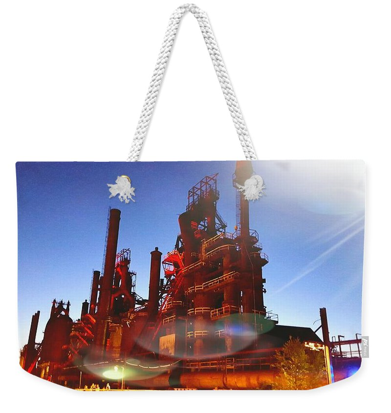 Weekender Tote Bag featuring the photograph Steel Stacks by Jessica Murphy