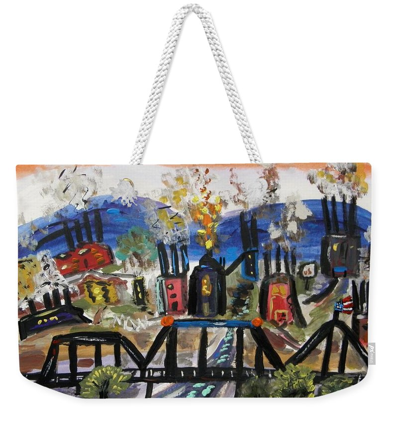 Steel Mills Weekender Tote Bag featuring the painting Steeltown U.s.a. by Mary Carol Williams
