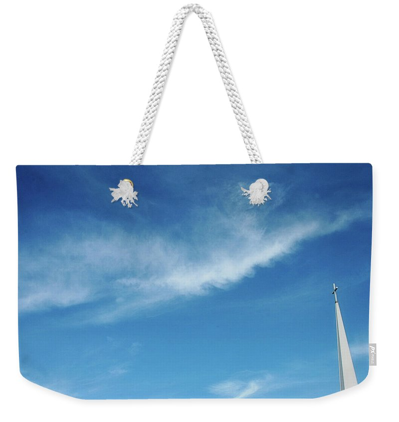 Sky Weekender Tote Bag featuring the photograph Steeple in the Sky by Toni Hopper