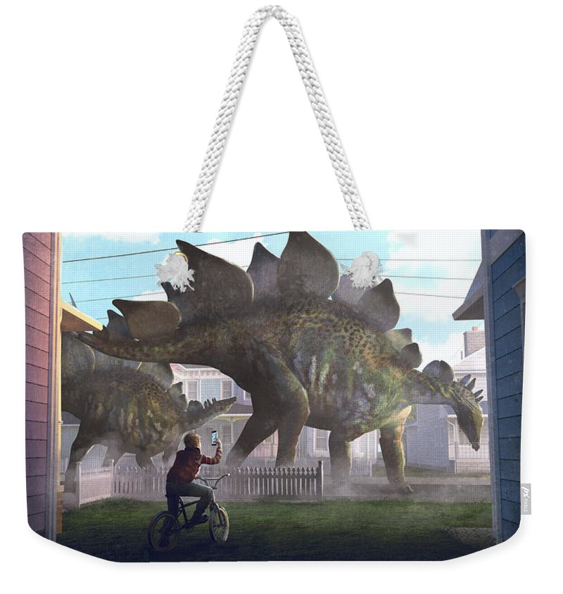 Fantasy Weekender Tote Bag featuring the painting Stegosaurus by Guillem H Pongiluppi