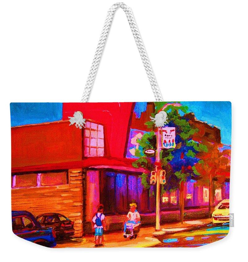 Steinbergs Weekender Tote Bag featuring the painting Steinbergs Supermarket by Carole Spandau