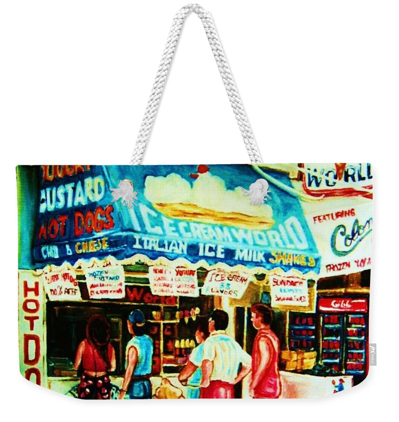 Children Weekender Tote Bag featuring the painting Stephanies Icecream Stand by Carole Spandau