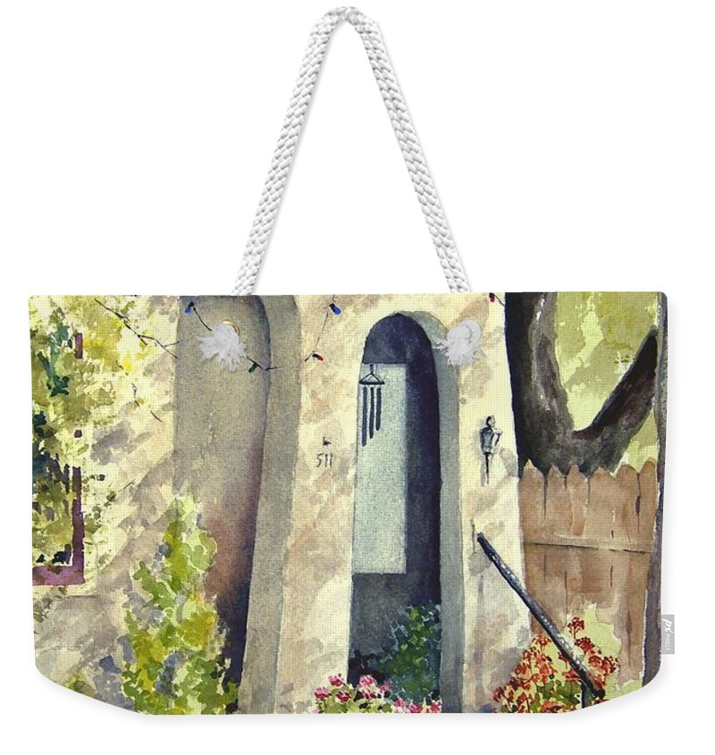 Door Weekender Tote Bag featuring the painting Stephanie's Porch by Sam Sidders